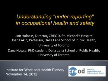 """Understanding """"under-reporting"""" in occupational health and safety"""