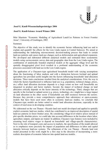 Josef G. Knoll-Wissenschaftspreisträger 2004 ... - Stiftung Fiat Panis
