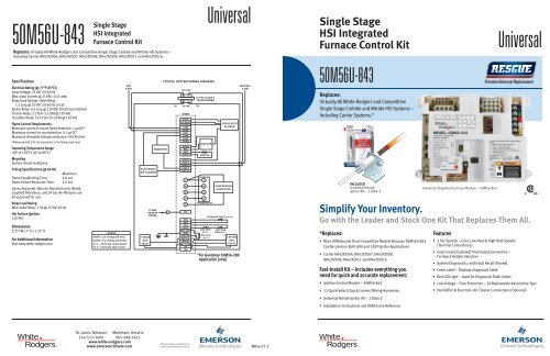 White Rodgers 50M56U 843 Specification Sheet
