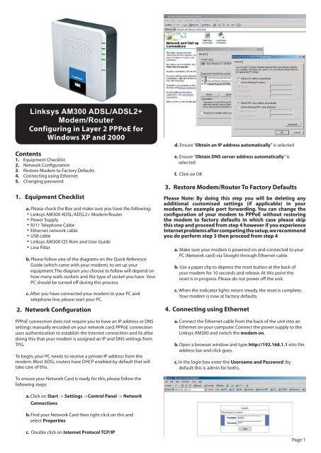 Linksys AM300 ADSL/ADSL2+ Modem/Router     - TPG Internet