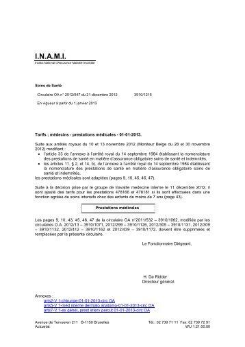 Tarifs des Médecins - A partir du 01/01/2013 - Inami