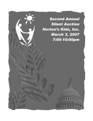 Second Annual Silent Auction Horton's Kids, Inc. March 3, 2007 7:00 ...