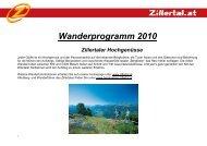 Wanderprogramm 2010 Zillertaler Hochgenüsse