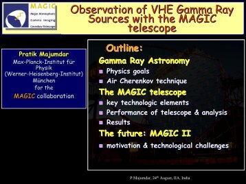 Observation of VHE Gamma Ray Sources with the MAGIC telescope