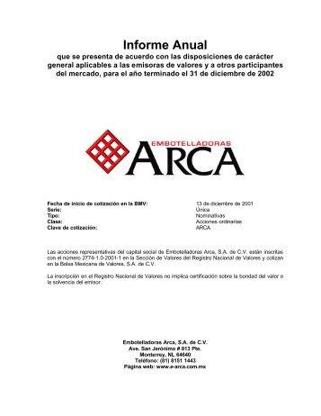 Informe Anual - Arca Continental