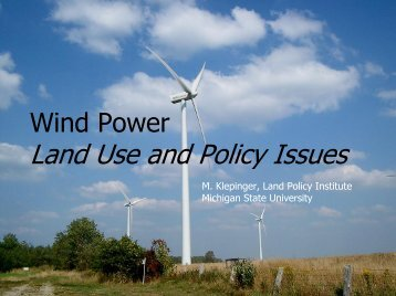 Land Use Issues and the Siting of Wind Towers - Ottawa County