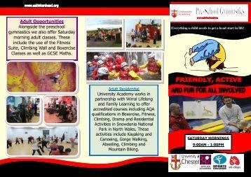Adult Opportunities Alongside the preschool gymnastics we also ...