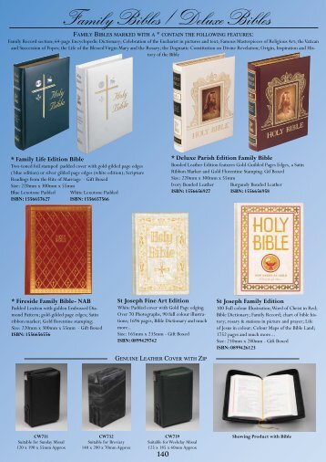 Family Bibles / Deluxe Bibles - Christian Supplies