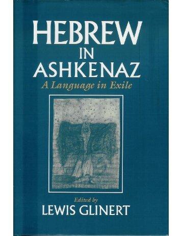 The Phonology of Ashkenazic - Dovid Katz