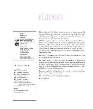 bülten 64 (pdf) indir - Bilim ve Sanat Vakfı