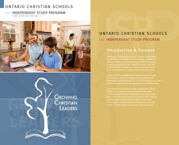 GROWING CHRISTIAN LEADERS - Ontario Christian Schools