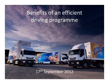 Benefits of an efficient driving programme