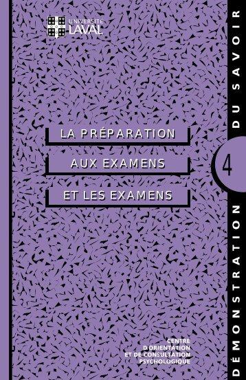 AUX EXAMENS LA PRÉPARATION ET LES EXAMENS