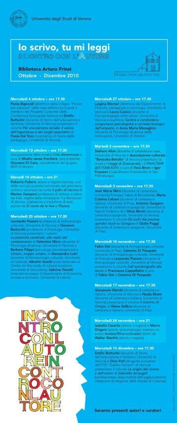 Io scrivo tu mi leggi - Università degli Studi di Verona