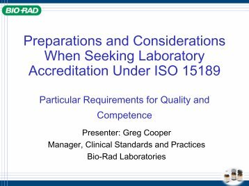 Preparing Your Laboratory to Certify or Accredit Under ISO 15189