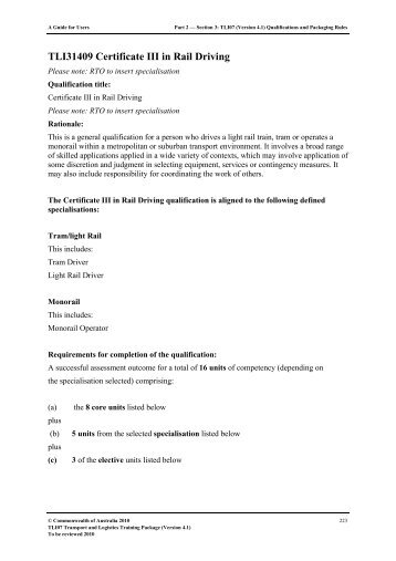 TLI31409 Certificate III in Rail Driving (with ... - State Training Services