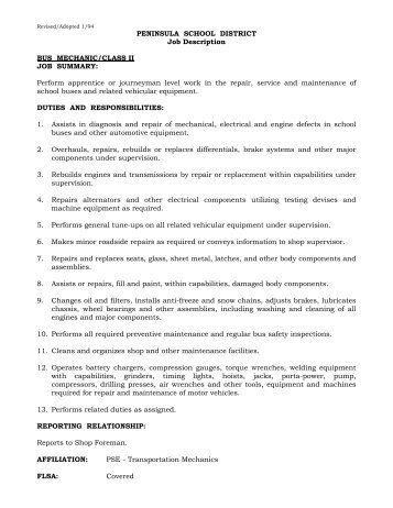Mechanic Technician Job Description. Mechanical Technician Job