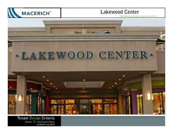 Lakewood Center Food Court Criteria Manual - Macerich