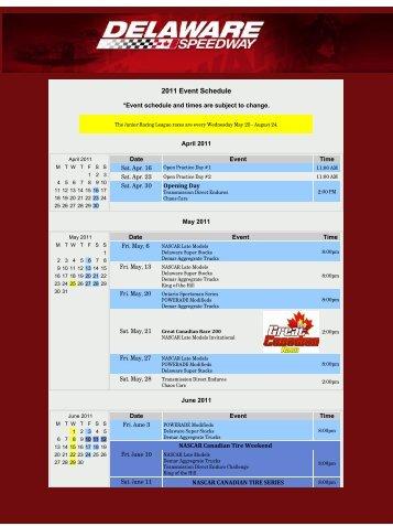 2011 Event Schedule - Delaware Speedway
