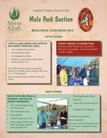 Mule Pack Cookbook - Sierra Club - Angeles Chapter