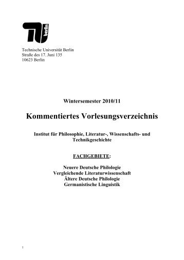 Wintersemester 2010/11 Kommentiertes Vorlesungsverzeichnis ...