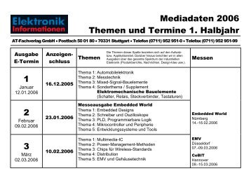 Mediadaten 2006 Themen und Termine 1. Halbjahr 1 2 3