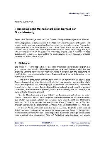 Terminologische Methodenarbeit im Kontext der ... - Trans-Kom