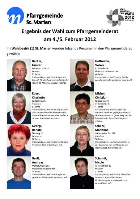Wahlergebnis - Kath. Kirchengemeinde St. Marien Neunkirchen
