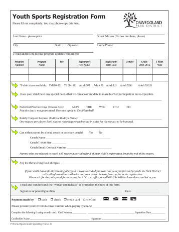 Softball registration forms printable related keywords for Sport registration form template
