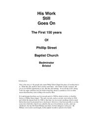 His Work Still Goes On The First 150 years Of ... - Philip Street Chapel