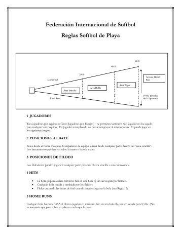 Federación Internacional de Softbol Reglas Softbol de Playa - ISF