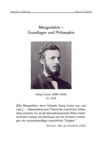 Mengenlehre – Grundlagen und Philosophie - Philosophisches ...