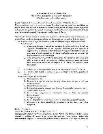 1 CAMBIO A REGLAS 2010-2013 (En el orden que aparecerá ... - ISF