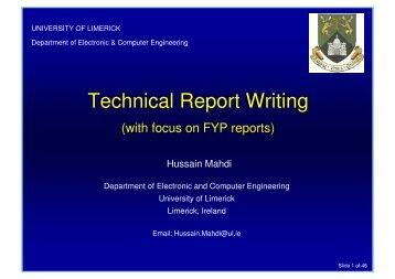 Technical Report Writing - ECE Student Information - University of ...