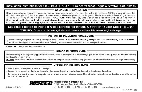 Suggested piston to cylinder wall clearance for Briggs     - Wiseco
