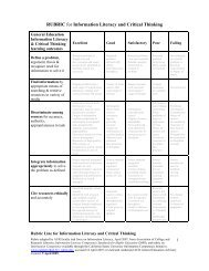 Information Literacy and Critical Thinking rubric lines