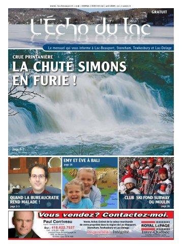 LA CHUTE SIMONS EN FURIE ! - L'Écho du Lac