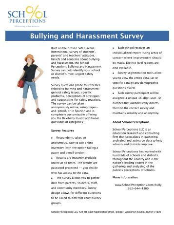Bullying and Harassment Survey - School Perceptions
