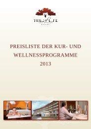 preisliste der kur- und wellnessprogramme 2013 - Tree Of Life
