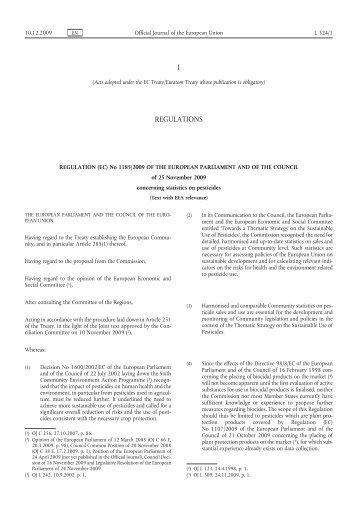 Regulation (EC) No 1185/2009 of the European ... - EUR-Lex