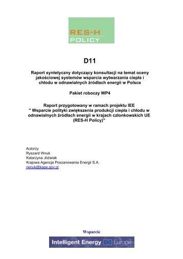 Wsparcie Raport syntetyczny dotyczący konsultacji ... - RES-H Policy