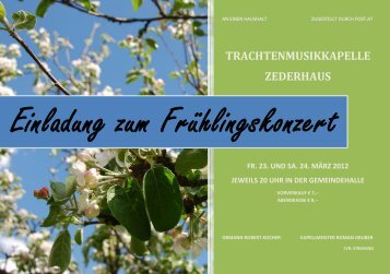 Einladung zum Frühlingskonzert - Trachtenmusikkapelle Zederhaus