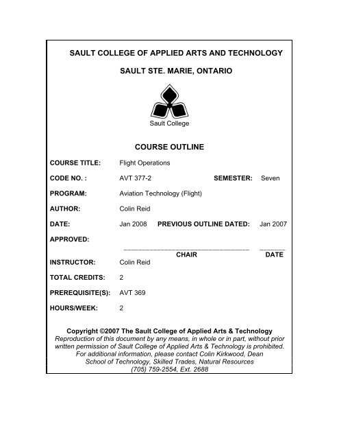 Avt377 Flight Operations W08 Pdf Sault College