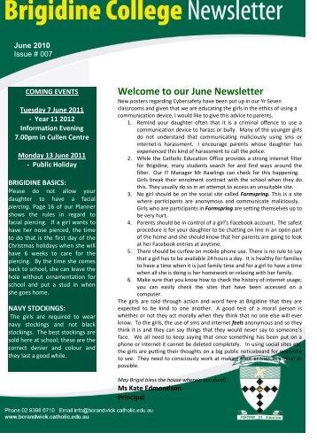 Welcome to our June Newsletter - Brigidine College Randwick