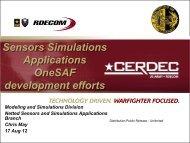 Sensors Simulations Applications OneSAF development efforts