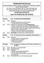 Gottesdienstordnung - Pfarreien Erlenbach