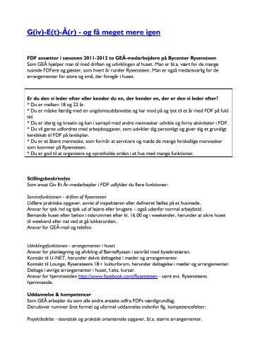 Giv Et År - medarbejder - stillingsopslag - Leder - FDF