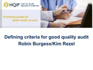 Defining criteria for good quality clinical audit projects - HQIP