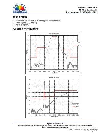 866 MHz SAW Filter 19 MHz Bandwidth Part Number - Spectrum ...