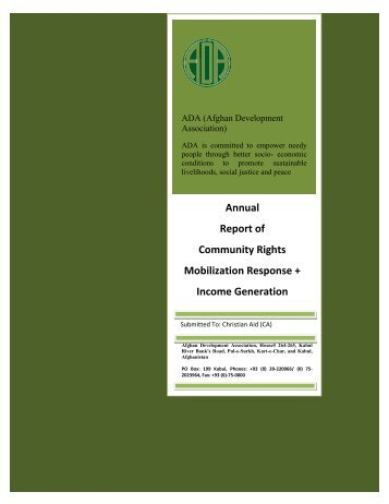 Annual Report of Community Rights Mobilization Response + ...